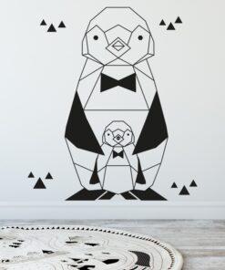 muursticker pinguin geometrisch sfeer