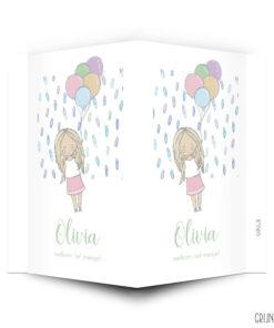 geboortebord meisje met ballonnen