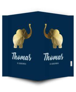 geboortebord gouden olifantje