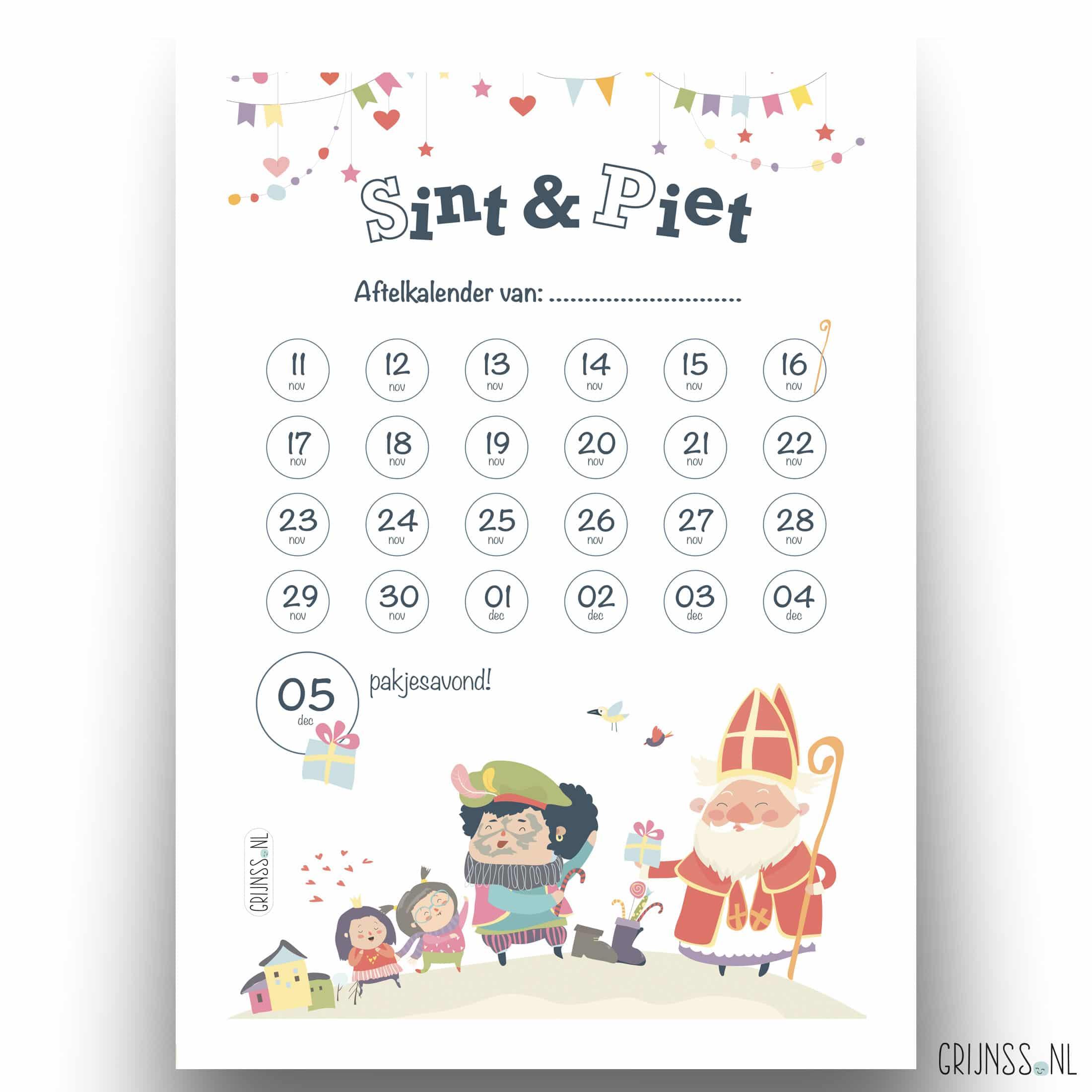 aftelkalender schoenzetkalender sint 2019 gratis