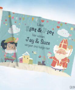 Vlag welkom Sint en Piet met namen