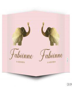 geboortebord gouden olifantje roze achtergrond