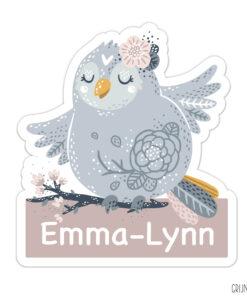 geboortebord tuin lief vogeltje meisje basiskopie