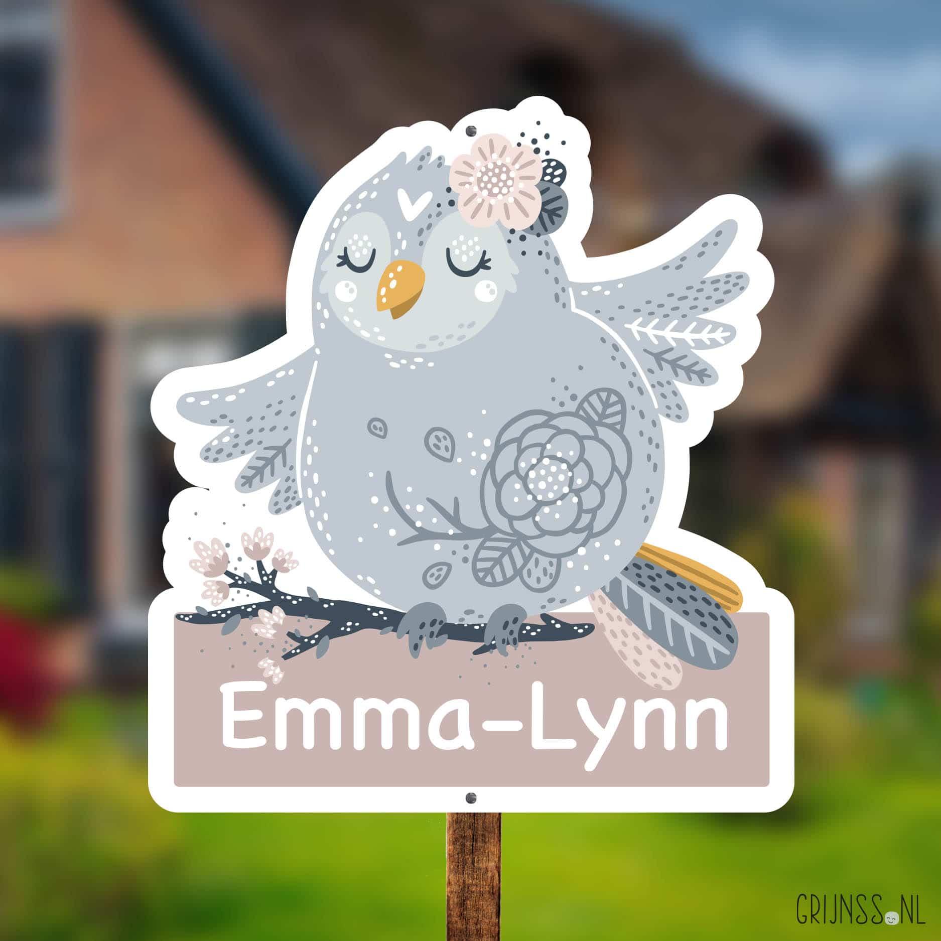 geboortebord tuin lief vogeltje meisje