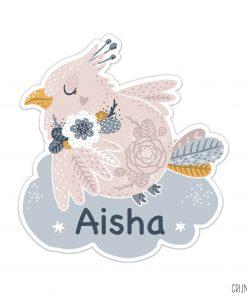 geboortebord tuin roze vogeltje basis