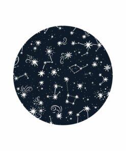 muurcirkel space sterren blauw