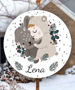 geboortebord kerstkindje met beer