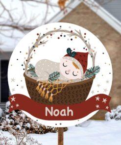 Geboortebord kerstkindje met kerstmuts