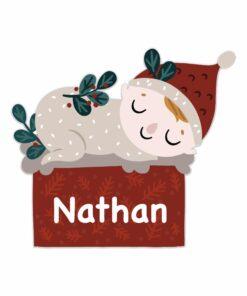 Geboortebord kerstkindje cadeautje