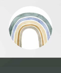 muurcirkel watercolor regenboog blauw sfeer