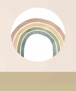 muurcirkel watercolor regenboog rood sfeer