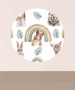 muurcirkel watercolor dieren sfeer