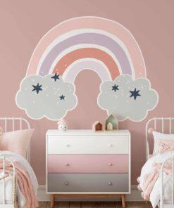 muursticker regenboog wolkjes roze muur